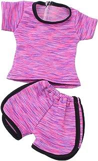 636b7b0b5f3aa Gazechimp 2 Pièces Vêtement de Sport Tops Pantalons en Tissu Accessoires  Pour 18'' American