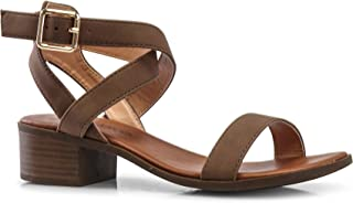 LUSTHAVE Women's Front Strap Ankle Wrap Adjustable Buckle Stacked Chunky Heel Gladiator Summer Dress Sandal