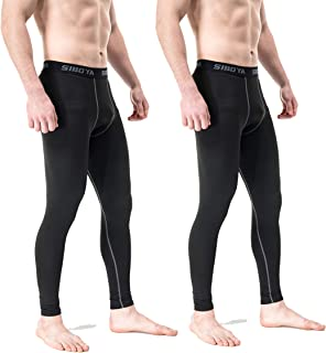 Siboya Men's 2 Pack Compression Pants Base Layer Cool Dry Running Tights