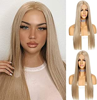 Sapphirewigs Ash Blonde Color Kanekalon Futura Hair Deep T-part Lace Front Wig Long Straight Glueless Synthetic Wig Real N...
