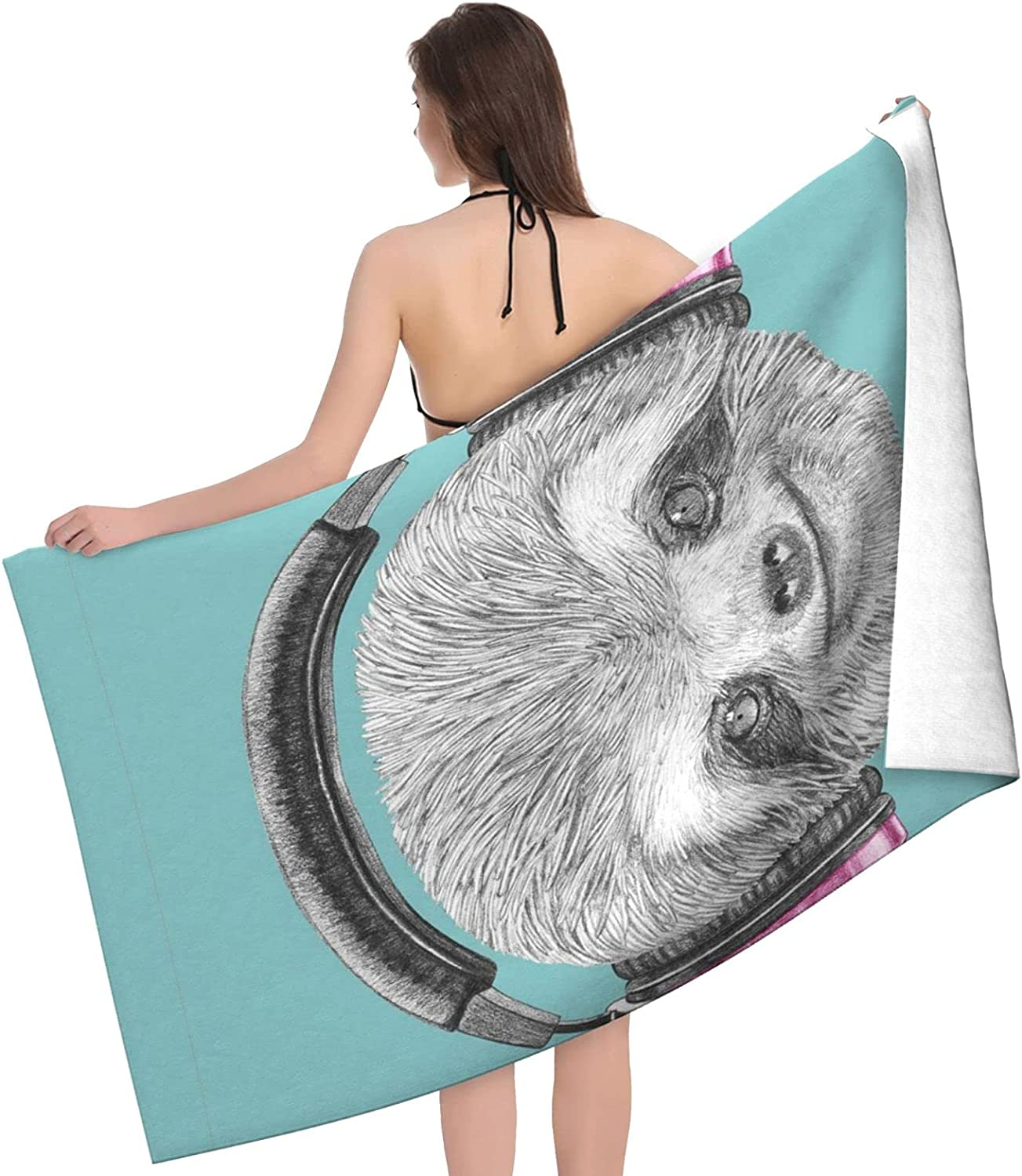 Sloth Listening to Miami Mall Music Print Long-awaited Adult Beach Towels Towel -