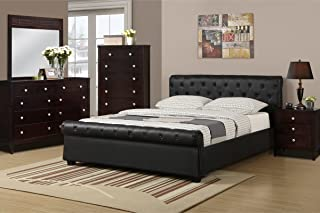 poundex Queen Size Bed with Button Tufting, Black