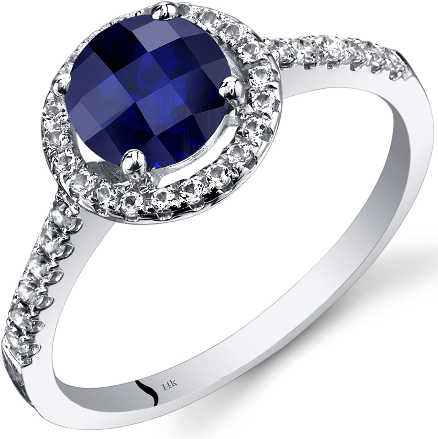14K White Gold Created Sapphire Cut Round Max 51% OFF Halo Ranking TOP8 Ring Checkerboard