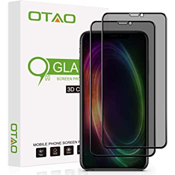 OTAO Privacy Screen Protector for iPhone 11 Pro/iPhone X/XS 5.8inch True 28°Anti Spy Tempered Glass Full-Coverage (2 -Pack)