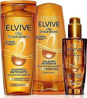 L'Oréal Paris Routine Capelli Olio Straordinario, Box con Shampoo Nutriente, Balsamo Nutriente e Olio Sublimatore per Cape...