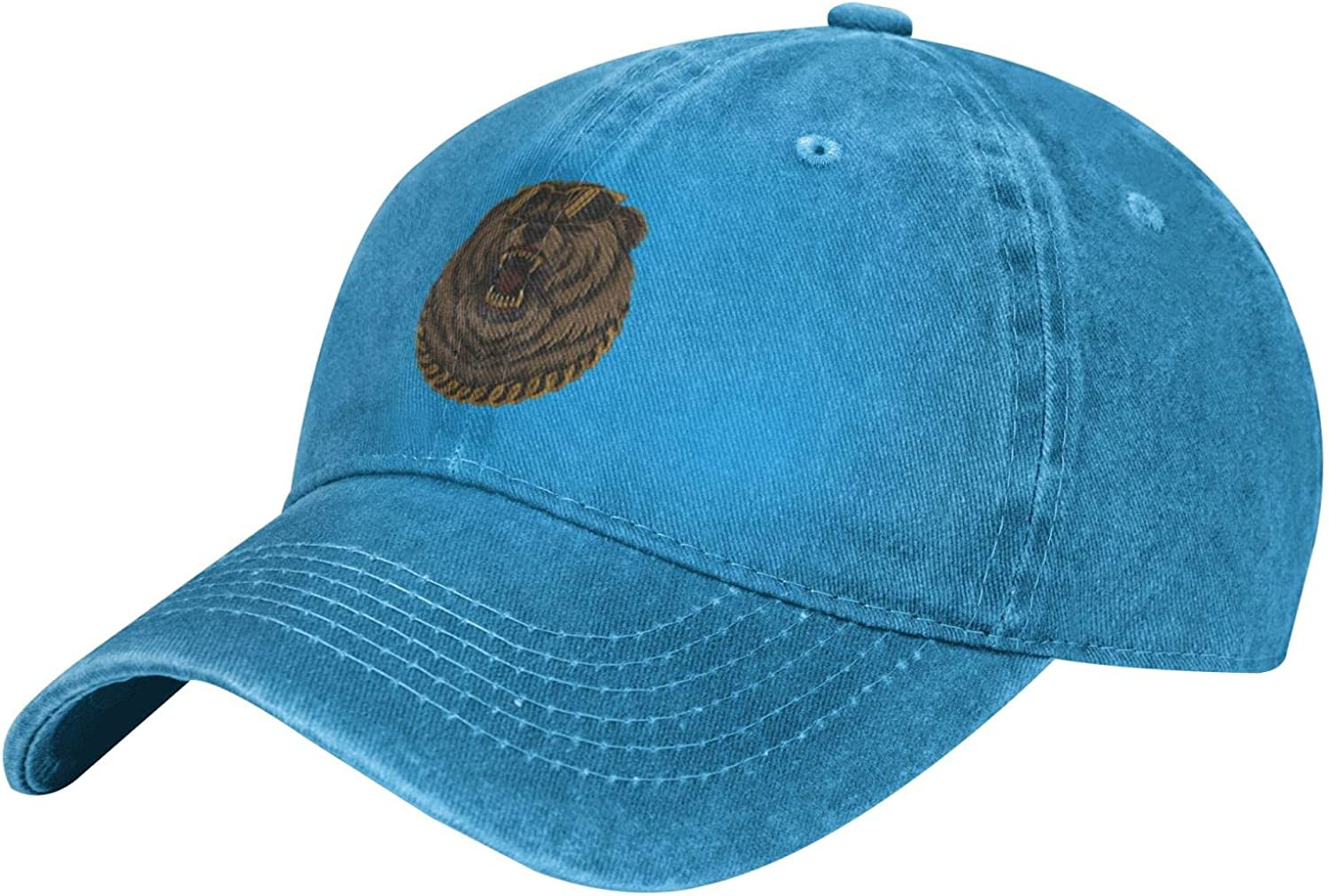 Jianglihxp Angry Cool Bear Gold Chain Unisex Adult Fashion Outdoor Cowboy Hat Adjustable Baseball Cap