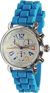 Authentic Colorful Numbers Chronograph Look Turquoise Silicon Jelly Watch