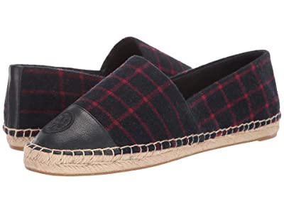 Tory Burch Color Block Flat Espadrille (Checked Wool/Tory Navy) Women