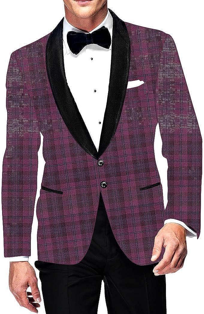 INMONARCH Mens Slim fit Casual Magenta Checks Blazer Sport Jacket Coat Groomsman SB15611