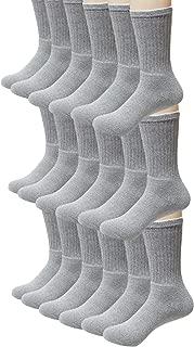 48 Pairs - Bulk Socks Wholesale Case Men's Size 10-13 Crew Cut in Grey