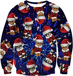 RAISEVERN Unisex Ugly Christmas Sweater 3D Print Funny Xmas Pullover Sweatshirt