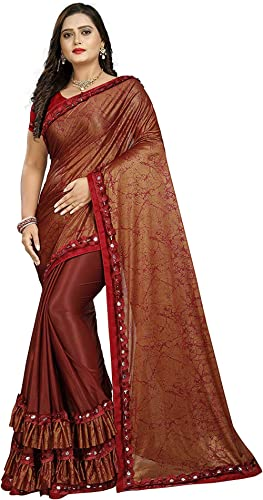 Diya Creation Women's Lycra & Malai Saree With Blouse Piece
