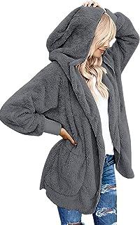 ACKKIA Women's Casual Draped Open Front Oversized Pockets Hooded Coat Cardigan