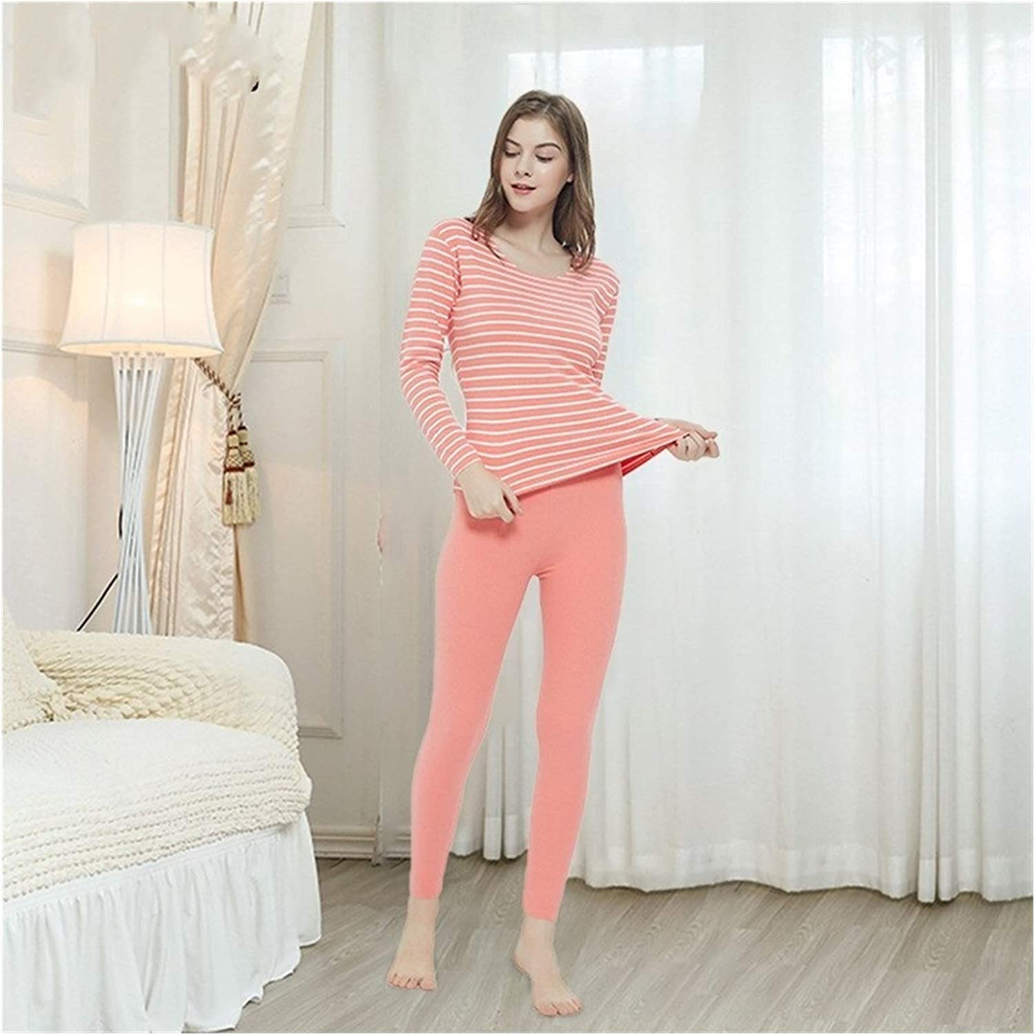 Glqwe No Trace Autumn Winter Plus Size 7XL Long Johns for Women Stripe Fever Thermal Underwear Women's Warm Sets Tops and Pants (Color : Beige, Size : XX-Large)