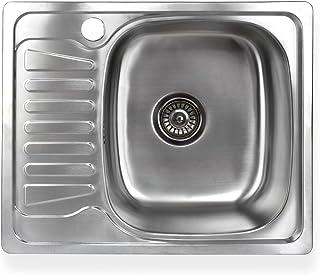 Stabilo-Sanitaer Einbauspüle aus hochwertigem Edelstahl, eckiges Spülbecken mit kleiner Abtropffläche links, Küchenspüle Ablaufsieb mit integriertem Ablauf-Stopp