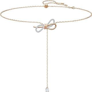 Swarovski Collar en Y Lifelong Bow, Blanco, Combinación de Acabados Metálicos