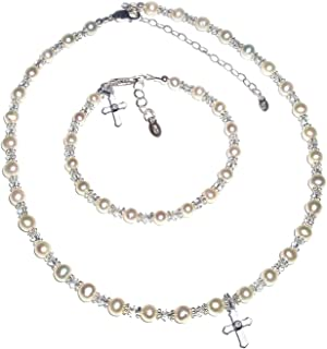 Children's Sterling Silver Communion Cross Necklace and Bracelet Set with Cultured Pearl and Crystal