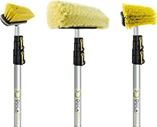 DOCAZOO DocaPole 12 Foot High Reach Brush Kit with 5-12 Foot Extension Pole // Brush Kit Includes 3 Brushes // Soft Bristl...