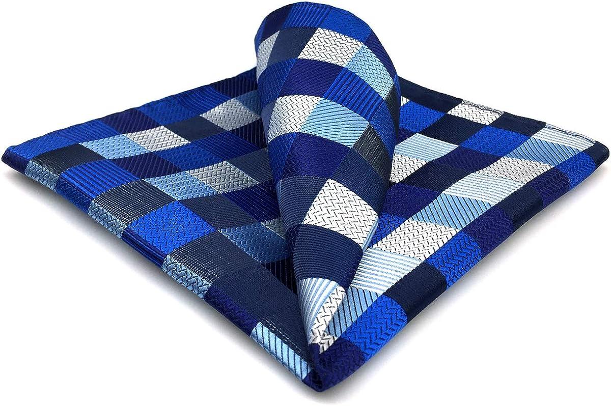 SHLAX&WING Checked Blue Navy Plaids Silk Pocket Square Mens Hankies Hanky