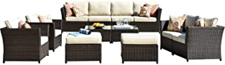 ovios Patio Furniture Set,Outdoor Furniture 12 Pcs Sets,PE Rattan Wicker sectional with 4 Pillows and 2 Patio Furniture Covers, No Assembly Required (12 Piece, Beige)