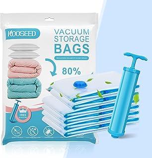 Sac de Rangement Sous Vide, KOOSEED 6 Packs Sac sous Vide Vêtement Aspirateur (4 Moyen + 2 Petit), Housse de Rangement sou...