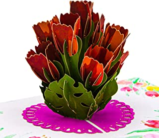 Paper Love Tulip Bouquet Pop Up Card, 3D Popup Greeting Cards, For Birthday, Wedding, Anniversary, Mother's Day, Valentine's Day, Love, Thank You, Just Because, All Occasion