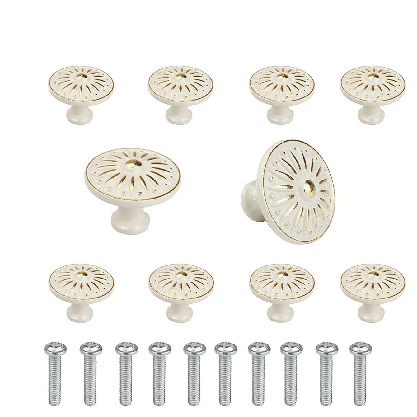WeiMeet Cabinet Knob, 10Pcs 35mm Single Hole Ceramic knob Dresser Cupboard Cabinet Drawer Knobs Wardrobe Door Pull Handle for Home Office tobwqabjfxekr86