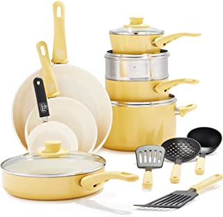 GreenLife Soft Grip Healthy Ceramic Nonstick Yellow Cookware Pots and Pans Set, 16-Piece