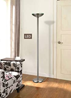 Artiva USA LED9485FSN Saturn Brushed Steel LED Torchiere Floor Lamp with Touch Dimmer, 71