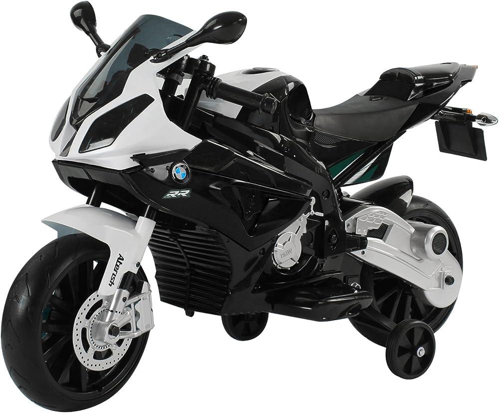 Homcom moto bmw elettrica con rotelle e luci per bambini realistica e sicura IT301-007WT0631