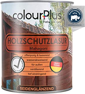 colourPlus Holzschutzlasur 750ml, Mahagoni seidenglänzende Holzlasur Außen- Holz Grundierung - Holz Lasur - Holzlasur Aussen - Made in Germany