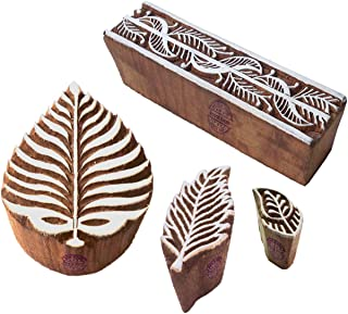 Artistic Pattern Palm Leaf and Paisley Wooden Blocks for Printing (Set of 4)