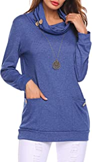 Womens Long Sleeve Button Cowl Neck Sweatshirt Casual Loose Tunic Tops Shirts with Pockets