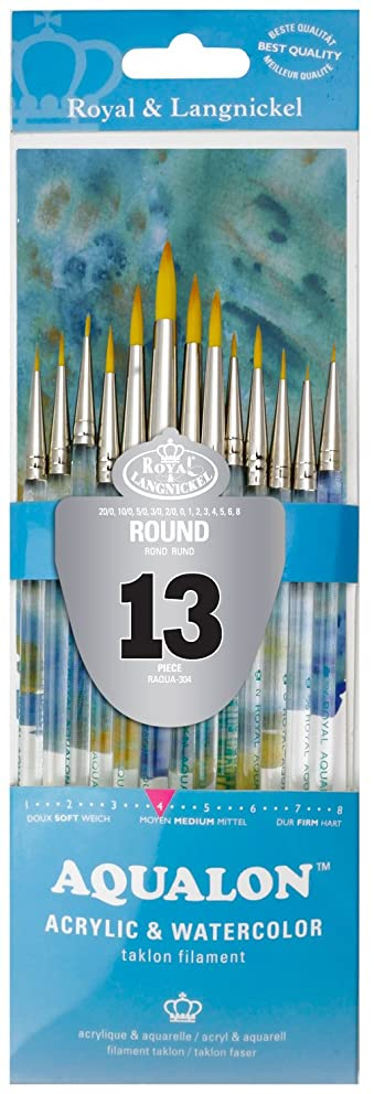 Aqualon Royal and Langnickel Short Handle Paint Brush Set, Round, 13-Piece