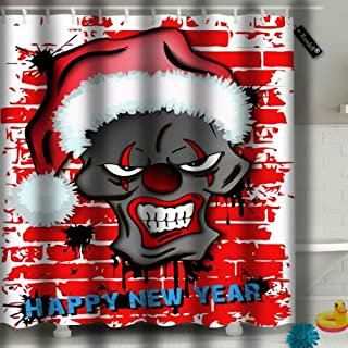 Randell Shower Curtains Set with Hooks Happy New Year Skull Scary Evil Clown in Santa Hat On The Brick Wall 60