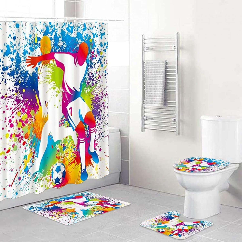 Superlatite 4PCS supreme Shower Curtain Sets Non-Slip Rug Cover Lid Toilet Mat Bath