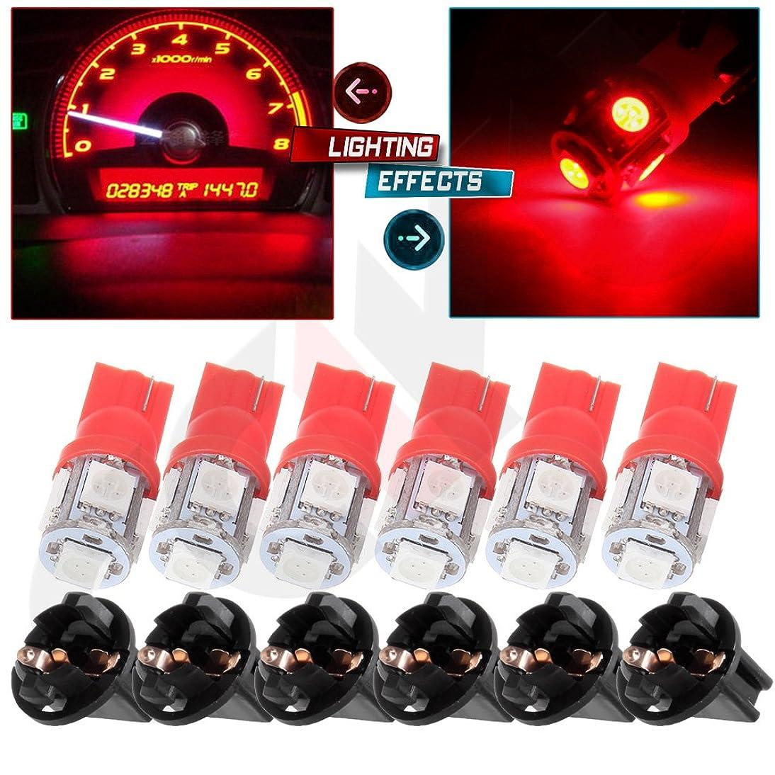 cciyu T10 194 168 Tri-Cell Red SMD LED Chips Instrument Panel Dashboard Gauge Cluster Light w/Socket,10Pack meak559358646086