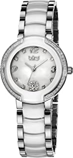 Burgi Women's Diamonds Watch - 8 Genuine Diamond Hour Markers with Crystal Bezel On Ceramic Bracelet - BUR072
