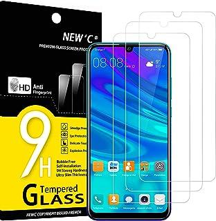 NEW'C 3-pack skärmskydd med Huawei P Smart 2019, Honor 10 Lite, Honor 8A – Härdat glas HD klar 9H hårdhet bubbelfritt
