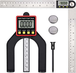 Digital Depth Gauge And 8 Inch Digital Angle Finder Protractor Set Tool Stainless Steel for Woodworking Construction Repai...