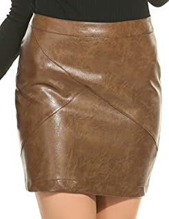 Women Classic High Waisted Faux Leather Bodycon Slim Mini...