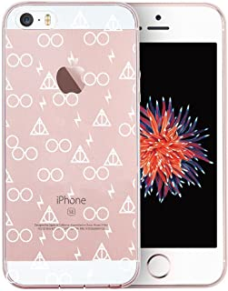 Unov Case Clear with Design Embossed Pattern TPU Soft Bumper Shock Absorption Slim Protective Cover for iPhone SE iPhone 5s iPhone 5(Death Hallows)