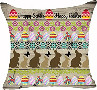 Bohemian Style Cute Rabbit Bunny Color Eggs Flowers Basket Chicken Butterfly Leaves Happy Easter Cotton Linen Throw Pillow...