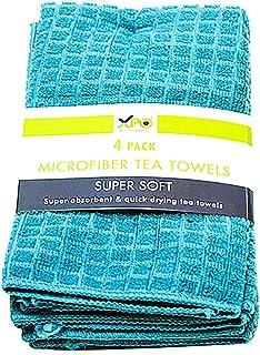 XPO Microfibre Tea Towels, Super Absorbent, Quick Dry, Pack of 4