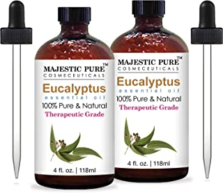 Majestic Pure Eucalyptus Essential Oil, Pure and Natural with Therapeutic Grade, Premium Quality Eucalyptus Oil, Set of 2,...