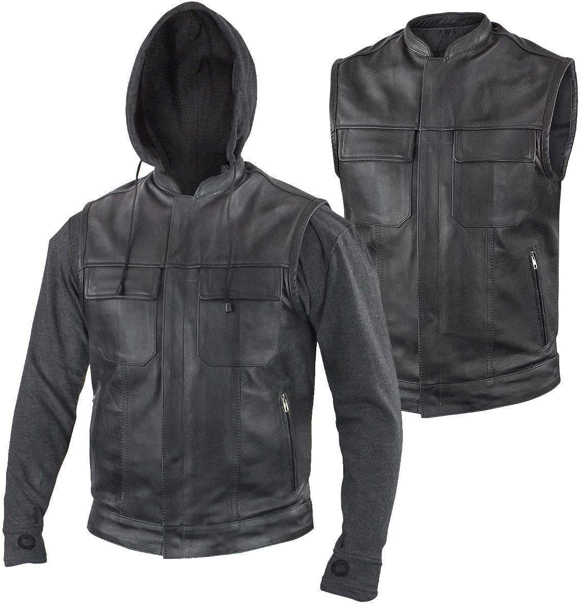 Xelement BXU1006 Men's 'Jax' Black Leather Motorcycle Hoodie Jacket with Convertible Vest - 3X-Large