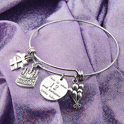 ENSIANTH Birthday Gift for Her Adjustable Birthday Bracelet Bangle with Birthday Cake Charm,12th Sweet 16th 18th 21st 30th 39th 40th Bangle Gift, (12th Birthday)