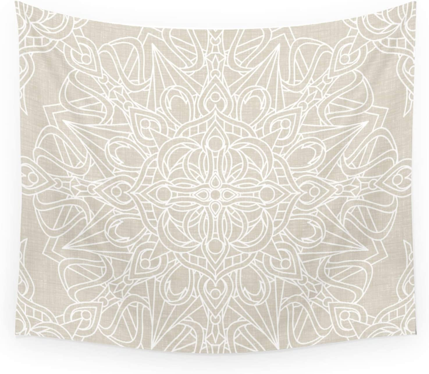 Society6 White Mail order cheap Lace Mandala On Ivory Linen Finally popular brand by Background Antique