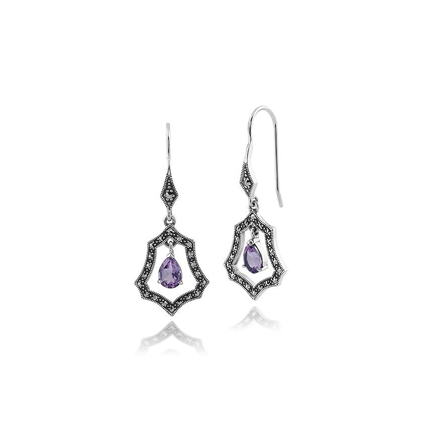 Gemondo Art Nouveau Earrings, 925 Sterling Silver 1.3ct Amethyst & Marcasite Drop Earrings
