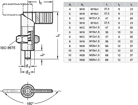 edelstahl Ganter Normelemente GN 612-5-M12-AK-NI 612-5-M12-AK-NI-Edelstahl-Rastriegel M12 Gewinde d2
